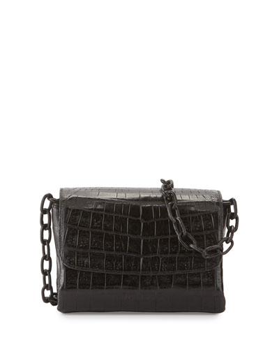 Crocodile Triple-Gusset Mini Crossbody Bag, Black Matte