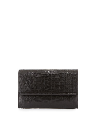 Crocodile Large Bar Clutch Bag, Black Matte