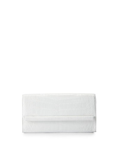 Crocodile Bar Clutch Bag, White Shiny