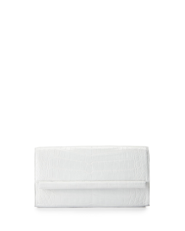 Crocodile Bar Clutch Bag, White Shiny