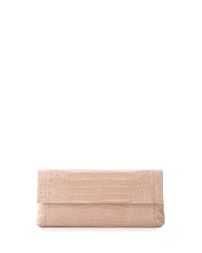 Gotham Crocodile Flap Clutch Bag, Nude Matte
