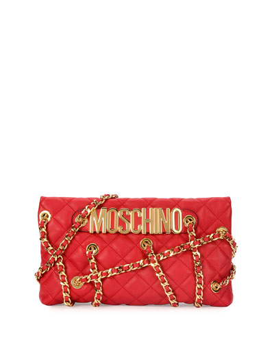 Chains Quilted Clutch Bag, Red