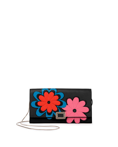 Flower-Appliqué Mini Buckle Wallet-on-Chain, Black
