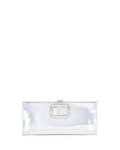 Pilgrim Crystal-Buckle Clutch Bag, Silver