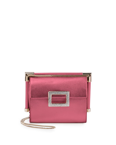 Miss Viv' Hotfix Leather Shoulder Bag, Metallic Rose