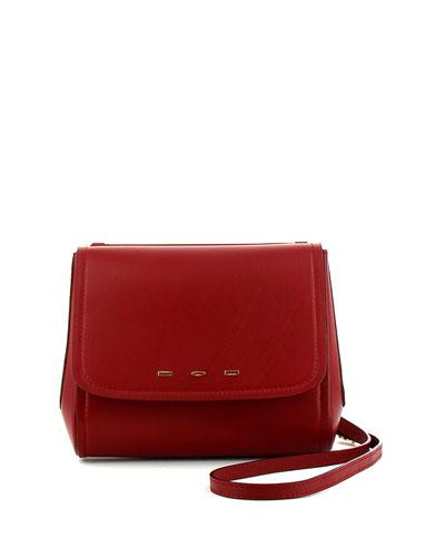 Sabrina Calfskin Saddle Bag, Red