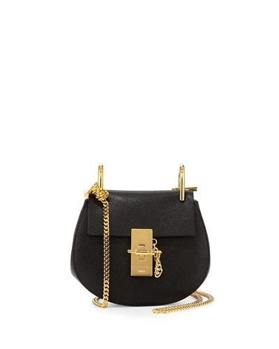Drew Nano Lambskin Saddle Bag, Black