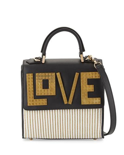Alex Mini Love Shoulder Bag, White/Golden/Black