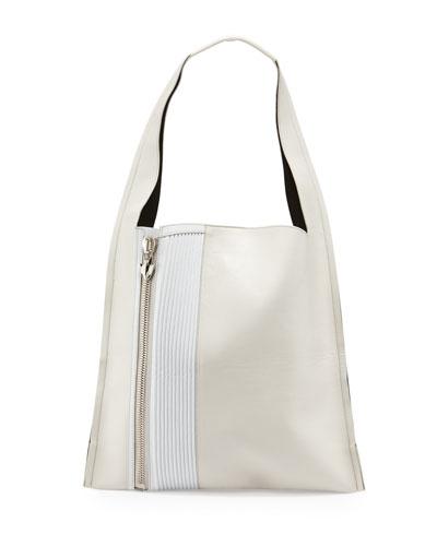 Estia Biker Shoulder Bag, White/Milk