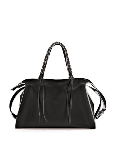 Gabria Sensua Calfskin Satchel Bag, Black/Milk