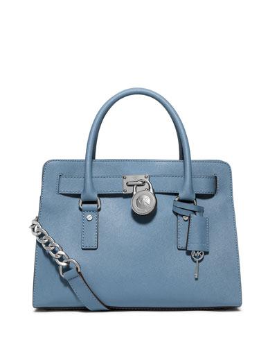 Hamilton Saffiano Satchel Bag, Sky