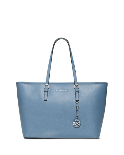Jet Set Travel Medium Saffiano Tote Bag, Sky