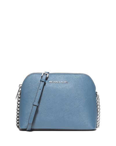 Cindy Large Dome Saffiano Crossbody Bag, Sky