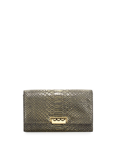Eartha Embossed Faux-Leather Wallet-On-Chain, Gold