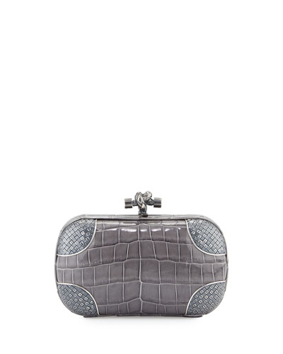 Knot Crocodile Clutch Bag, Gray