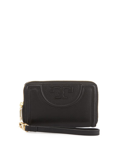 Serif-T Leather Smartphone Wristlet Wallet, Black