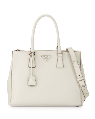 City Calfskin Bicolor Double-Zip Galleria Tote Bag, White/Yellow (Talco+Mimosa)