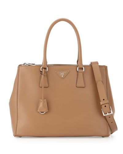 City Calfskin Bicolor Double-Zip Galleria Tote Bag, Caramel/Orange ...