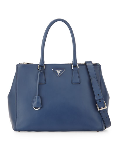 City Calfskin Bicolor Double-Zip Galleria Tote Bag, Dark Blue/Green ...