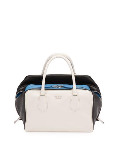 Soft Calf Medium Tricolor Inside Bag, White/Black/Light Blue (Talco+Nero)