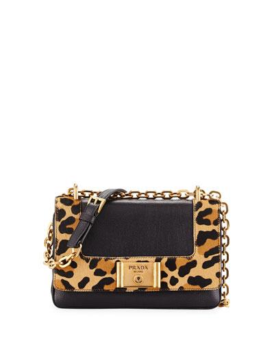 Leopard-Print & Calfskin Flap Shoulder Bag, Black/Honey (Nero+Miel)