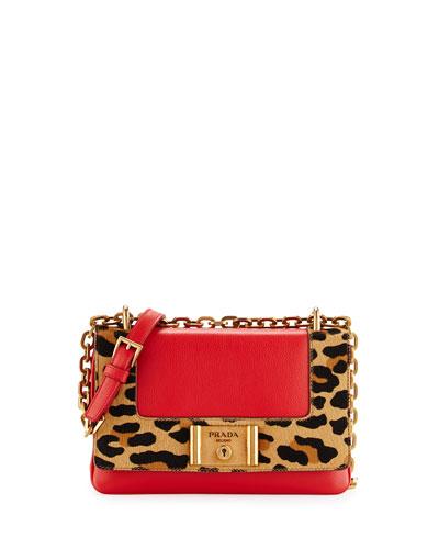 Calf Hair & Calfskin Chain Shoulder Bag, Red Orange Leopard (Lacca+Miele)