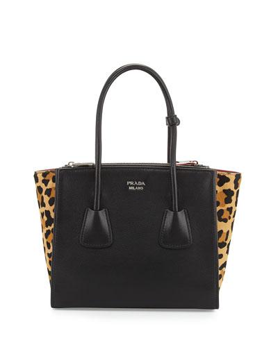 Calf Hair & Calfskin Medium Twin-Pocket Tote Bag, Black Leopard (Nero+Miele)