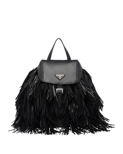 Soft Calfskin and Tessuto Fringe Backpack, Black (Nero)