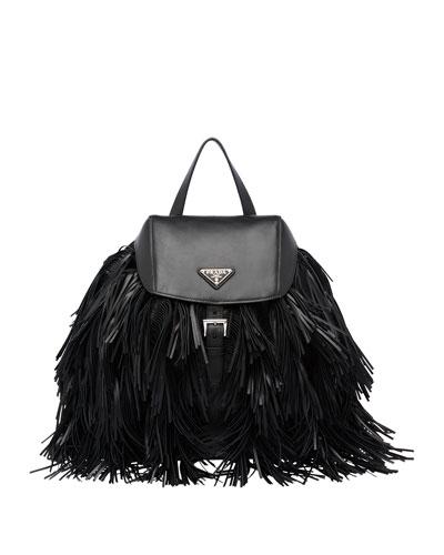 Soft Calfskin and Tessuto Fringe Backpack, Black (Nero)