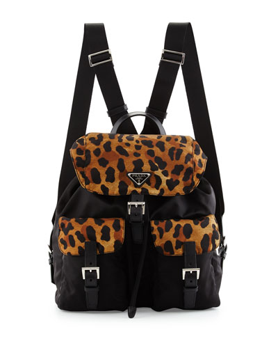 Tessuto Leopard-Print-Trim Nylon Backpack, Black/Leopard (Nero+Miele)