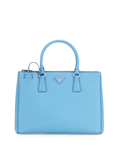 Saffiano Lux Medium Double-Zip Tote Bag, Light Blue (Mare)
