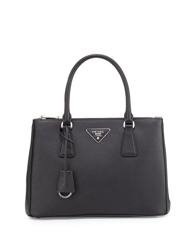Saffiano Lux Double-Zip Tote Bag, Black (Nero)