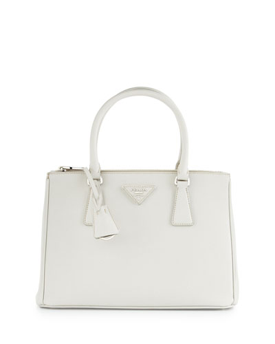 Saffiano Lux Small Double-Zip Tote Bag, White (Talco)
