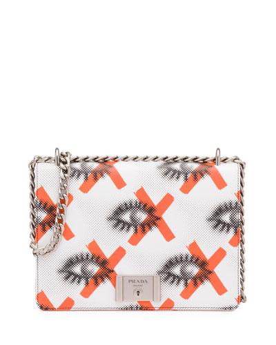 Daino St. Eyes Shoulder Bag, White/Red (Bianco+Arancio)