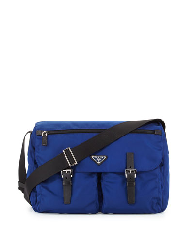 Vela Small Nylon Double-Pocket Messenger Bag, Dark Blue/Black (Bluette+Nero)