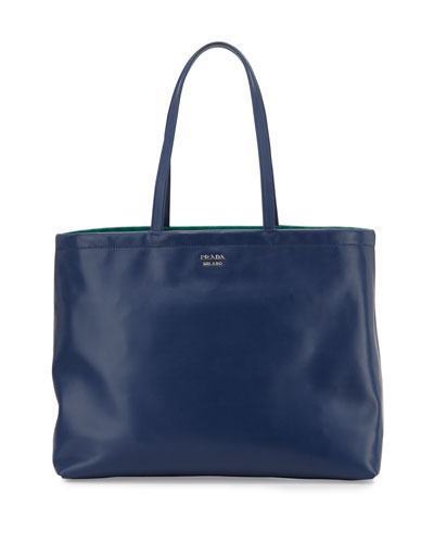 Soft Calfskin Reversible East-West Tote Bag, Dark Blue/Green (Bluette+Assenzio)
