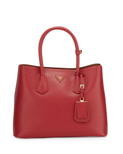 Saffiano Cuir Double Medium Tote Bag, Red/Caramel (Fuoco/Caramel)