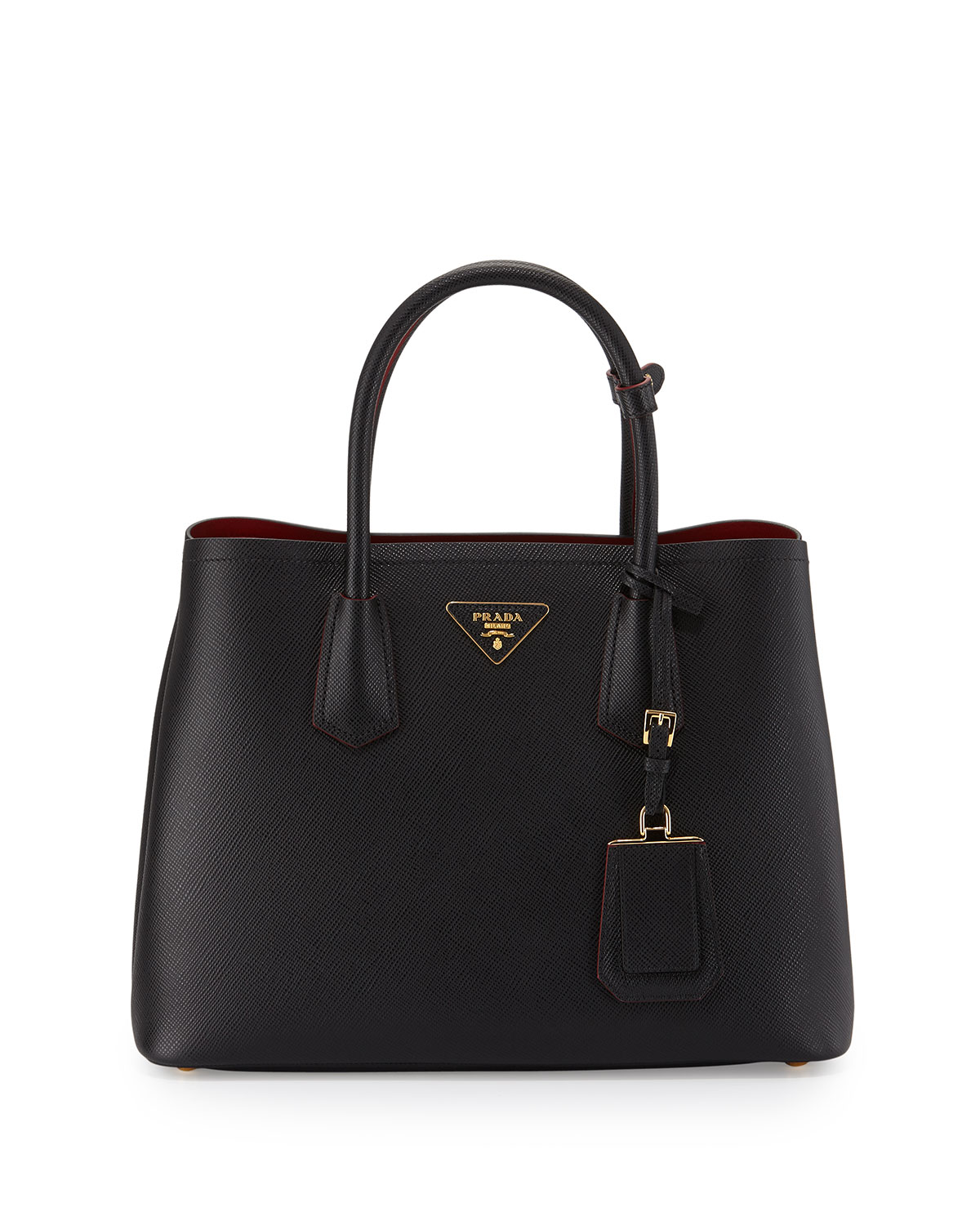 Saffiano Cuir Double Medium Tote Bag, Black/Red (Nero+Fuoco)