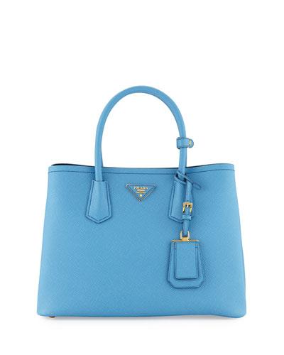 Saffiano Cuir Double Small Tote Bag, Light Blue/Dark Blue (Mare+Bluette)