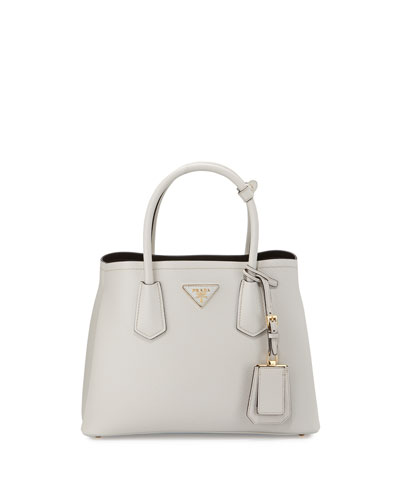 Small Saffiano Tote Bag, White/Black (Talco+Nero)