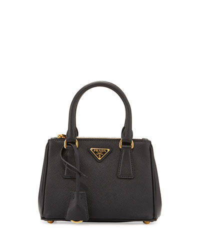 Saffiano Lux Micro Tote Bag w/Shoulder Strap, Black (Nero)
