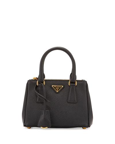 Saffiano Lux Micro Tote Bag w/Shoulder Strap, Black (Nero)