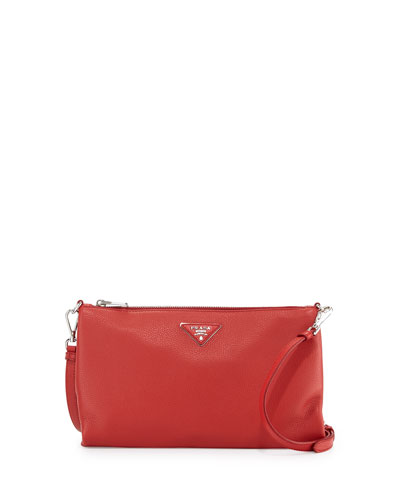 Vitello Daino Zip-Top Crossbody Bag, Red (Rosso)