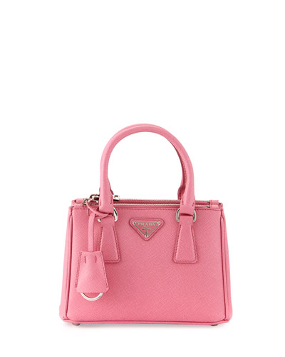Saffiano Lux Micro Tote Bag w/Shoulder Strap, Pink (Begonia)