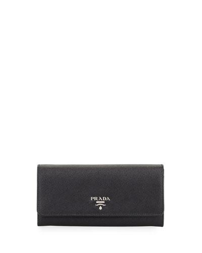 Saffiano Continental Flap Wallet, Black (Nero)