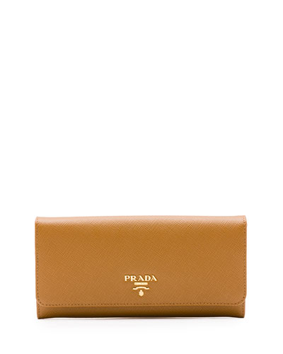 Saffiano Continental Flap Wallet, Caramel (Caramel)