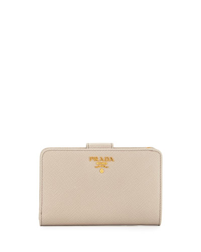 Saffiano Metal Oro Bi-Fold Wallet, Light Gray (Pomice)