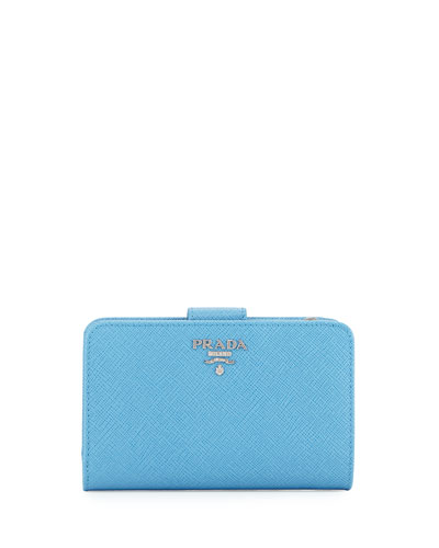Saffiano Metal Oro Bi-Fold Wallet, Light Blue (Mare)