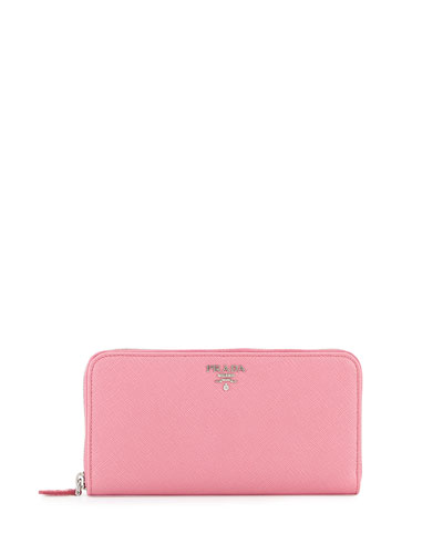 Saffiano Leather Oro Zip-Around Wallet, Pink (Begonia)