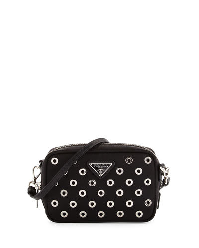 Tessuto Vela Grommet Crossbody Bag, Black (Nero)